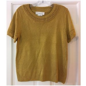 Anthropologie Sweater Crochet Trim Yellow M NWT